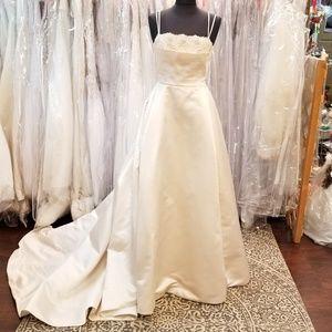 100% Silk Ivory A-line Couture Wedding Ballgown
